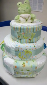 Last Minute Impromptu Diaper Cake. Can't help but smile everytime I look at it. :)
