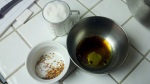 Here we have the sugar for the brittle, the oil and vinegar for the vinaigrette and the spices for the brittle!